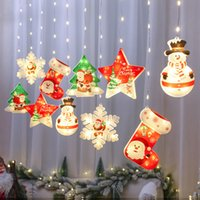 Christmas Tree decoration Pendant Snowflake Five-pointed Star Shape LED Lights hHousehold Goods Fairy Lamp Garden Window Bedside Living Room Holiday Gift