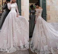 Старинные свадебные платья с длинным рукавом свадебные свадебные платья Кружева Аппликация Tulle A-Line Plus Размер Abiti Da Sposa Custom
