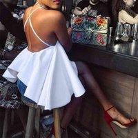 Lindo vestido blanco atractivo Vestidos Vestidos Halter sin espalda Cross Cross Ball Vestido Slim Fit Mujeres Verano Otoño Sundress Sundress Short Club Vestidos 210517