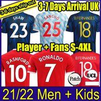 21 22 SANCHO Manchester Fussball Trikots United Fans Spielerversion Bruno Fernandes Martial Utd Pogba Rashford Football Hemd 2021 2022 Man + Kids Kit Hemden
