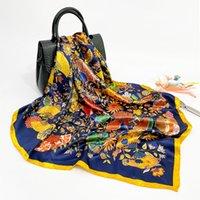 Bufanda de seda para mujer 2021 Nuevo Ventilador Retro Impreso Pequeño Pequeño Pequeño Silf Silde S Silip Satin Bufanda En stock