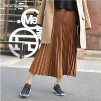 Vestidos casuales Deturbg para mujer elegante gamuza acordeón falda plisada señoras de alta calidad elástico alástico de alta calidad MIDI faldas Saias Fashi