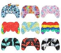 DHL Tie-tintura Printing Pad Gamespads Empurre Bubble Controller Fidgets Fitgets Brinquedos Kids Hand Game Controladores Joystick Dedo Descompression Ansiedade Toy
