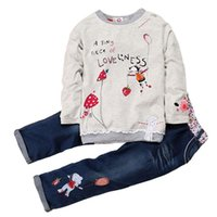 Clothing Sets Fashion Spring Autumn Kids Girls Cotton O-Neck Tops + Jeans 2 PCS Long Sleeve Floral Denim Suits To 6 Years Old