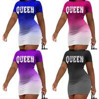 Sexy Dresses Dresses Queen Gradient Color Stampa personalizzata Summer Summer Abito manica corta per ragazze Miniskirt Party Nigh Club Wear G4TE6HJ