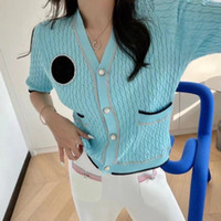High version of 2021 spring and summer new product heavy industry nail drill logo knit short-sleeved cardigan temperament 3-collar slim top