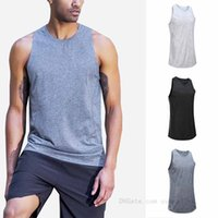 lulu Breathable mesh vest quick dry tops lu men sleeveless T-shirt outdoor running tee summer outfit loose sports training fitness clothes