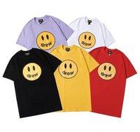 Justin Bieber Drew House T Shirt Sorriso Hip Hop Tee Fashion Mens Tshirt Manica corta in cotone O-Collo