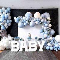 350 قطع اللاتكس الأزرق معكرون بالونات جارلاند القوس بالون سنة واحدة أول عيد حزب ديكور كيد rainbow يونيكورن استحمام الطفل 210610