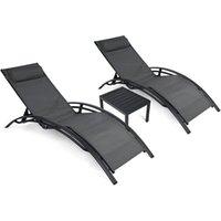 Лагерь мебель патио шезлонга набор 3 штуки, стулья для снаружи с регулируемой спинкой, открытый стул для бассейна Set2021