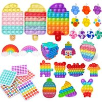 DHL Rainbow Push Fidget Toy Push Sensory Push Bubble Fidget Sensory Autism Bisans Officerbiosi Ansia Stress Reliever per ufficio fluorescen