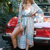 Pamuk Çiçek Baskılı Yüzme Kapak Up Elbise Hırka Kimono Kol Bohemian Robe Plaj Nedensel Boho Yaz Vestidos 210510