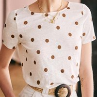 Andre Polka Dot T shirt Women Short Sleeve O neck Linen Casual Shirts Summer Printed Vintage Tees Tops 2020