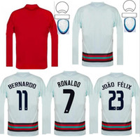 2021 유로 컵 국가 대표팀 남성 축구 유니폼 긴 소매 호나우두 Joao Felix B.fernandes 축구 셔츠 세트 Camisa de Futebol