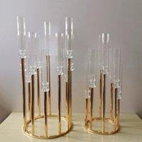 Mumluklar Metal Şamdan Şamdanlar Çiçek Vazolar Düğün Masa Centerpiece Ayağı Standı Yol Kurşun Parti Dekorasyon