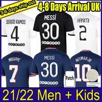 Messi Mbappe Kean Hakimi Sergio Ramos Futbol Formaları 21 22 Maillots Futbol Gömlek 2021 2022 Marquinhos Verratti Erkekler + Çocuk Kiti Üniforma Enfants Maillot de Foot