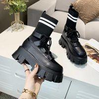 Женщины Multicolor Knit Boots Черный дизайнер носок Martin Boot Real кожаные ботинки на шнуровке на шнурок вязание носки обувь 5 цветов высочайшего качества 35-40