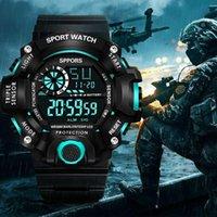 Mode Multifonction Sport Montre Affichage Date Semaine de calendrier Alarme Unisexe Militaire Grade imperméable Zegarek Sportowy F5 Bracelet