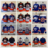 2021 Reverse Retro Ice Hockey 13 Mathew Barzal Jerseys Royal Blue 27 Anders Lee 22 Mike Bossy Jersey 화이트 블랭크 없음 이름 번호