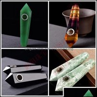 Aessories Household Sundries Home & Gardennatural Crystal Pipe Clear Quartz Smoking Pipes Healing Stones Tobao Handmade Hexagons Cigarette S