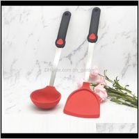 Outras ferramentas de cozinha Colher multicolor Sopa Comida Grau Guia de Cozinha Vermelho Ponto de Aço Inoxidável Sovel Sovel Nonstick Spatula VT0263 HNGVF Ndzhw