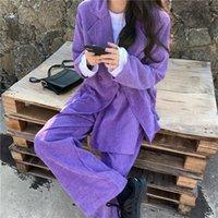 Women's Two Piece Pants Autumn Winter Korean Clothes Office Casual Ins Purple Corduroy Suit Wide Leg Two-Piece All-Match