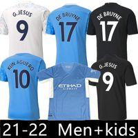 2021 Città Manica lunga Soccer Jerseys de Bruyne Kun Aguero Camicia da calcio Foden 2022 Attrezzature 20 21 22 Man Kids Kit
