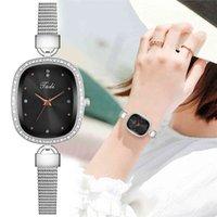 디자이너 럭셔리 브랜드 시계 여성 슈퍼 얇은 실버 메쉬 ES 숙녀 타원형 라인 석 쿼츠 선물 시계 Relogio Feminino