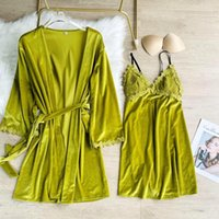 Women's Sleepwear Autumn Velour Robe Set Sexy Lace Bathrobe Gown Women V-neck 2PCS Femme Nighty&Robe Velvet Sleep