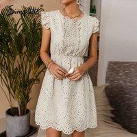 Simplee Casual Solid Cotton Hohe Taille Kleid Rüschen Hohlheft A-Line Office Dame Kleid Sleeveless Sommer Frauen Kleid Neue Y0603