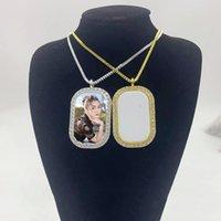 50 stks / partij Sublimatie Lege ronde hoek ketting sieraden hanger met dikke ketting en invoegen voor promotie geschenken