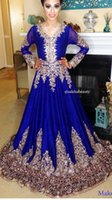 Arabic Royal Blue Chiffon Evening Dresses 2020 Long Sleeve with Gold Lace Appliques Sweep Train Amazing Prom Dresses Formal Evening Gowns