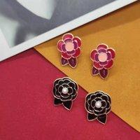 Goujon émail camélia fleurs boucles d'oreilles pour femmes mignon doux élégant boucle d'oreille classique design de mode bijoux p25