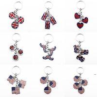 Keychain British Style Beard Pendant Gift Favor Car United Kingdom Flag Foreign Affairs Gifts American Flags Key Chain EWF7118