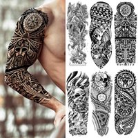 DIY Tribal Totem Full Arm Temporary Tattoo Sleeve For Men Women Adult Maori Skull Tattoos StickerBlack Fake Tatoos Makeup Tools
