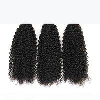 Brezilyalı bakire işlenmemiş insan saçı kinky kıvırcık karışık uzunluk 3 demetleri 4 demetleri lot doğal siyah brezilyalı kinky curl saç atkı