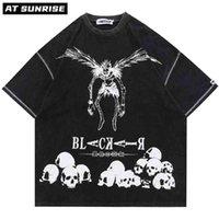 Hip Hop Streetwear Harajuku T Shirt Japanese Death Manga Note Imprimir Tshirt Hombres Verano Manga corta Camiseta Algodón suelto Tops TEE 210722