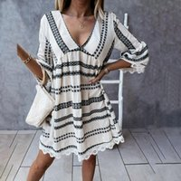 Casual Dresses Summer Women Vintage Print Mini Dress Loose V-neck Lace Patchwork Woman Morocco Style Flare Sleeve Vestidos