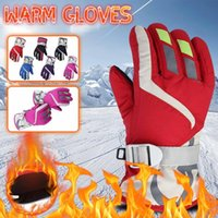 Ski Gloves Waterproof Winter Skiing Snowboarding Warm Mittens Kids Full-finger Strap For Cycling Outdoor Sports