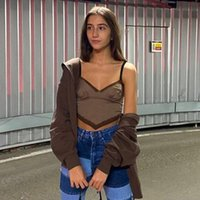 Brown Lace Crop Top V Neck Tank Top Y2K Harajuku Camis Spaghetti Strape Tee Tops Women Party Top New Trendy Streetwear A0608
