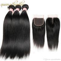 9A Peruvian Straight Virgin Hair With Closure Brazilian Straight Human Hair Bundles With Closure 3 Bundles With Lace Closure Free Part
