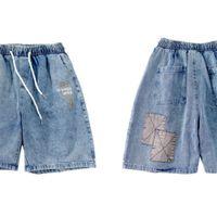 Denim Jean Gonthwid Shorts Streetwear Hip Hop Color Block Patchwork Courtes Jeans Harajuku Fashion Casual Baggy Brot Denim Pantalon C0421