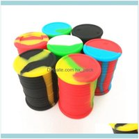 Bottles Garden Housekeeping Home Storage & Organization 11Ml Jar Food Grade Sile Oil Barrel Container Jars Dab Wax Rubber Drum Shape Sil Dry