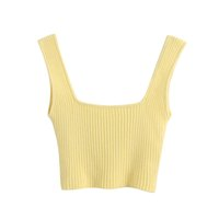 2020 Summer Slim Render Short Top Sexy Women Sleeveless U Croptops Tank Tops Yellow Crop Tops Vest X0424