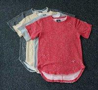 Mens Hip Hop Clothes Broken T Shirt Short Sleeve Crew Neck 100% Cotton Ripped Round Hem Sale