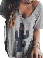 드레스 캐주얼 선인장 펜타 그램 인쇄 V 넥 라글란 Sve T 셔츠