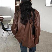 Vintage Loose Leather Moto Jacket Women Casual Outerwear Biker Chic Streetwear Business PU Tops Female 2021 Spring Women's & Faux