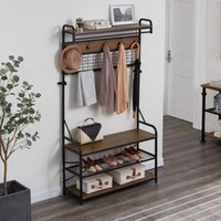 Living Room Furniture 5-In-1 Entryway Hall Tree with Shoe Bench