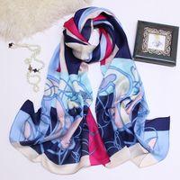 Luxusdesigner Schal 100% langer Seideschals und Tücher Wraps Hijabs Pashmina Neckwarmer Winter Schalldämpfer Elegante echte Seideschals Weibliche Muffüll