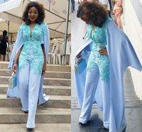 Sky Blue African Evening Jumpsuit with Wrap Cape 2021 Lace Chiffon Black Girl Plus Size Women Outfit Prom Dresses Pant Suit